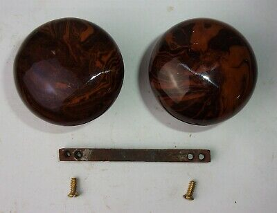 Antique Vintage Pair Marble Swirl Bennington Porcelain Door Knobs w/ Spindle
