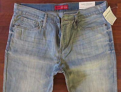 Guess Slim Straight Leg Jeans Men Size 36 X 30 Classic Distressed Light Wash New