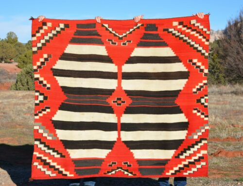 """Old Pawn Third Phase Chiefs Blanket Navajo - 59"""" Tall x 66"""" Wide"""
