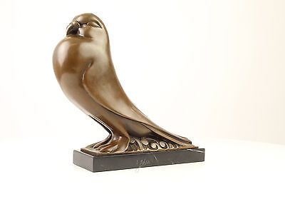 99937625-dss Bronze Sculpture Stylized Pigeon Figure 10x31x29cm