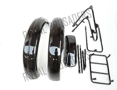 NORTON 16H BLACK PAINTED FRONT & REAR MUDGUARD SET WITH COMPLETE STAYS (CODE658)