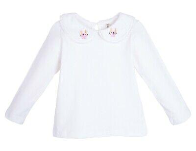 US Stock Toddler Long Sleeve Bunny Peter Pan Collar White T Shirt