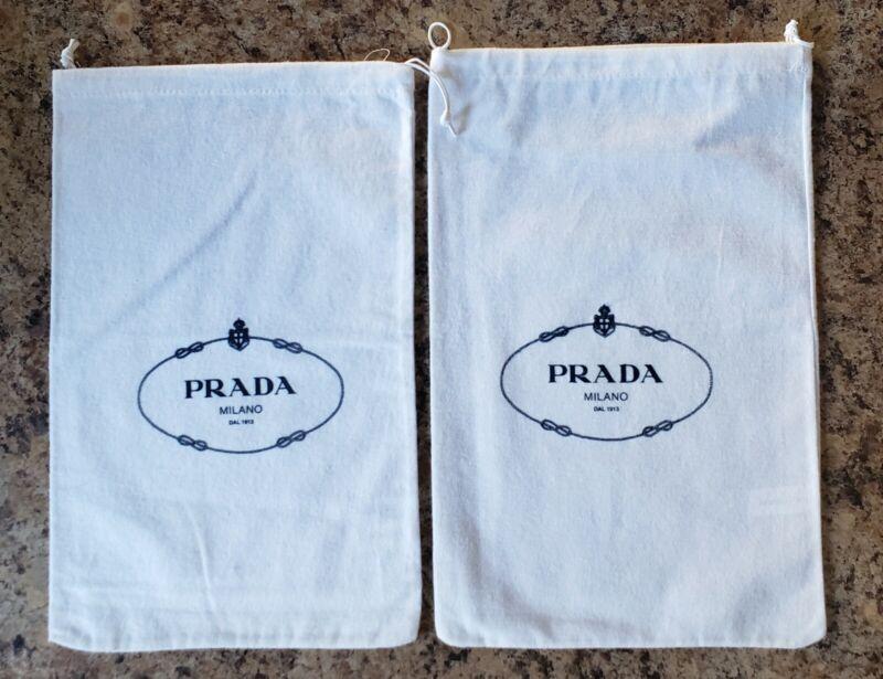 "Prada Shoe Dust Travel Storage White Bag Pair 13 1/2"" x 8 1/2"" Drawstring Shoes"