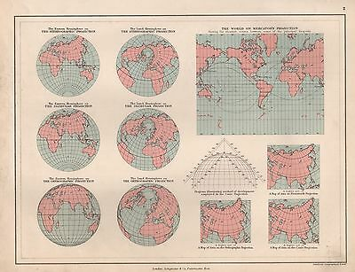 1889 ANTIQUE MAP WORLD, STEREOGRAPHIC, GLOBULAR, ORTHOGRAPHIC, MERCATOR