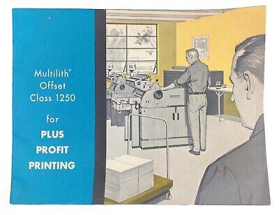 Vintage 1954 Multilith Offset Class 1250 Commercial Printer Sales Brochure