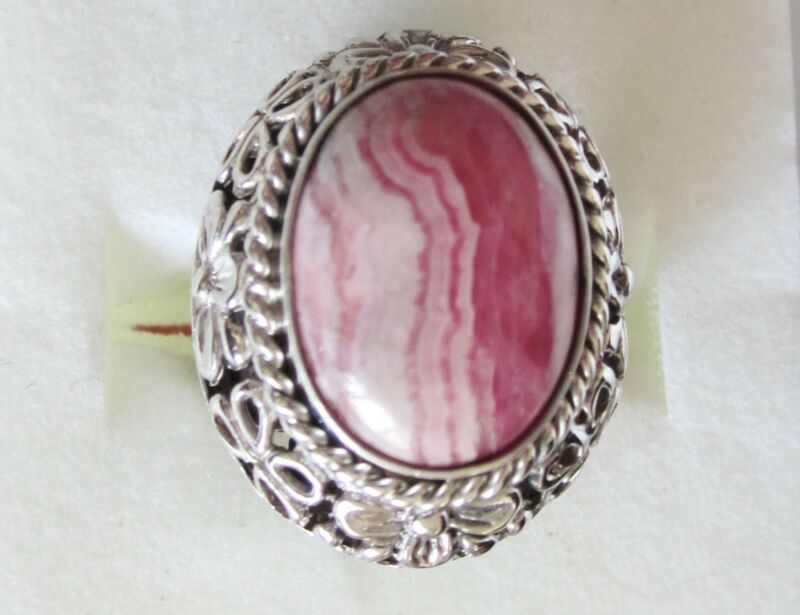 Rhodochrosite Ring in 925 Sterling Silver, ring size 5.75  -- 11.12cts, 10.3g