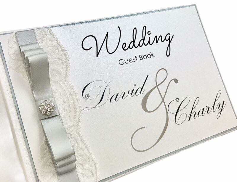 Wedding Guest Book Personalised With Diamante Pearl & Lace Rose Gold Any Colour!