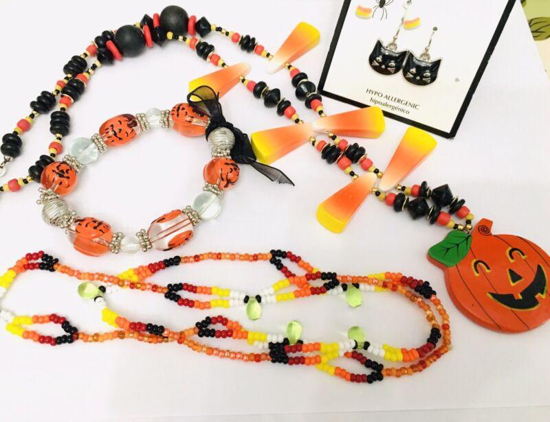 Halloween Necklaces Earrings Bracelets Pumpkins Candy Corn Black Cat Lot
