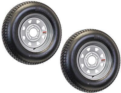 2-Pk Radial Trailer Tire On Rim ST205/75R15 15 in. LRC 5 Lug Silver Spoke Wheel