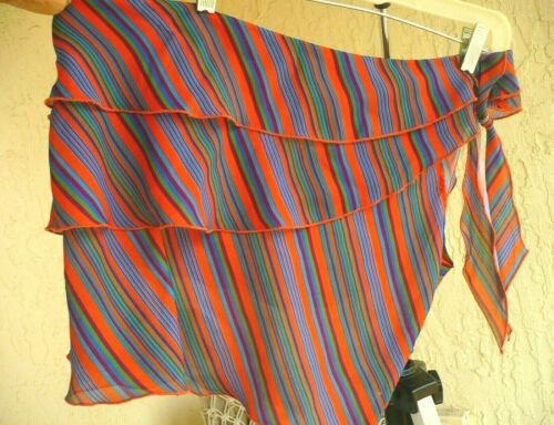 VTG 90S 80S M SILKY RAINBOW STRIPED RUFFLED ONE SHOULDER BOW TIE BLOUSE WOMEN