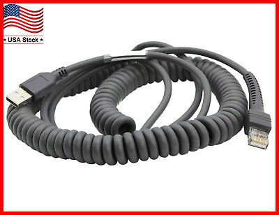 Usb Cable Coiled 15ft For Symbol Barcode Scanner Ls1203 Ls2208 Ls3578 Ds6708