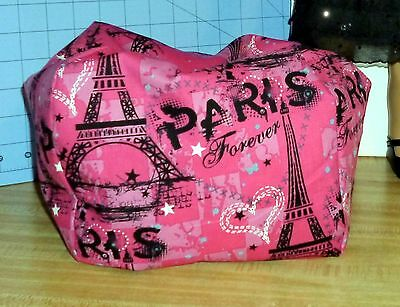 Paris Forever pink Eiffel Tower Bean Bag Chair made to fit American Girl dolls