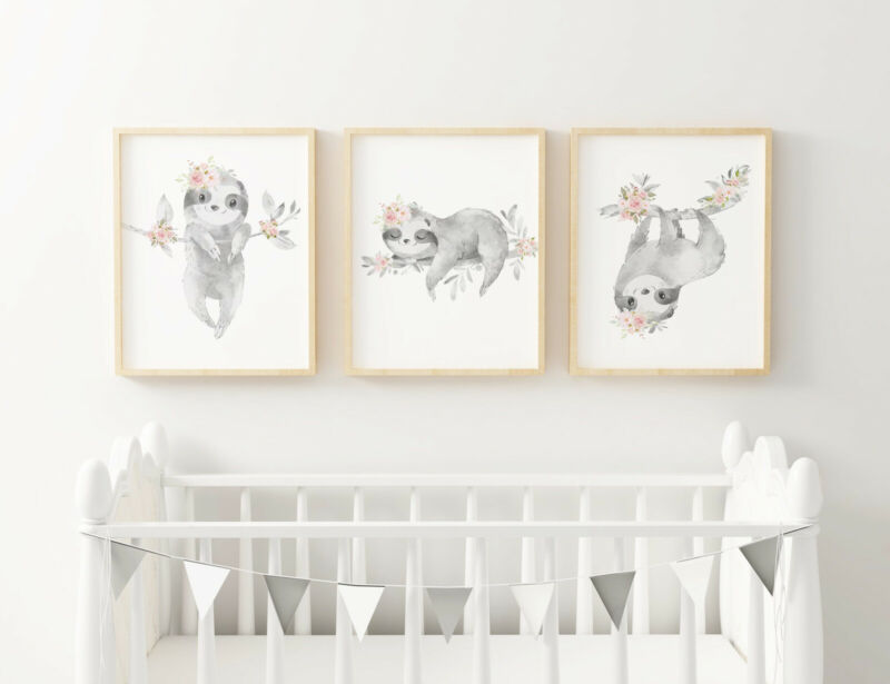 set of 3 Sloth Nursery Art Prints