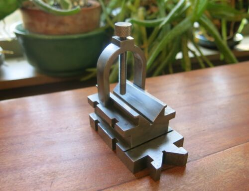 small vintage Machinists Die and Toolmakers V-BLOCK with Fishtail + Clamp