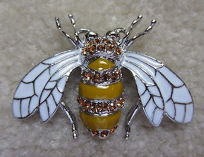 VINTAGE STYLE AUSTRIAN CRYSTAL AMBER SILVER TONE BUG BEE BROOCH PIN WHITE WING