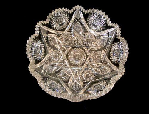 "Fabulous American Brilliant ABP Heavy Intricate Cut Glass ""COLONNA"" Bowl"