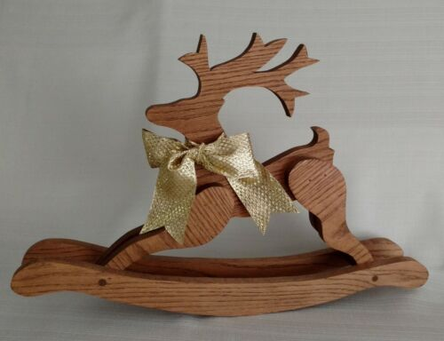 Christmas Holiday REINDEER Wooden Rocking Horse Type Decoration Hand Made