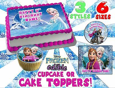 Disneys Frozen Birthday Cake topper Edible paper sugar cupcake