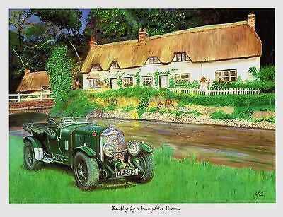 A3  ART PRINT- BENTLEY BY A HAMPSHIRE STREAM