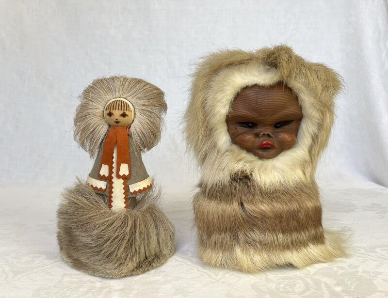 2 Vintage Alaska Eskimo Fur Dolls Handmade Wood Face