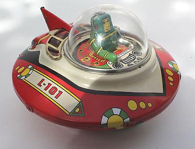 Raumschiff mit Commander UFO Blechspielzeug space ship
