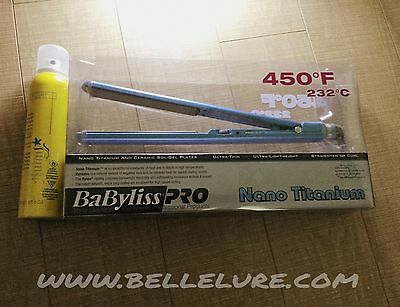 "Babyliss Nano Titanium Ultra Thin Flat Iron 1"" + Shine Spray - BRAND NEW"