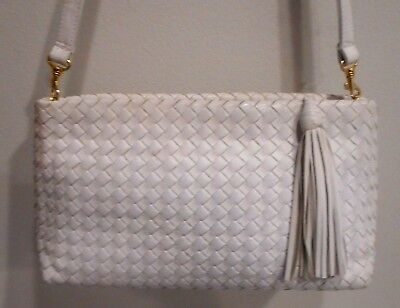 Vtg, Aspects,By Lisette, Oyster White, Woven Leather, Detachable Strap Sh. Bag (White Woven Bag)