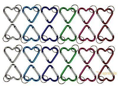 Heart Shaped Key (Carabiner Key Chain Heart Shaped Key Ring Belt Clip Snap Aluminum (Lot of 24)  )