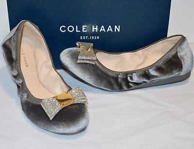 New $170 Cole Haan Tali Bow Ballet Flats Grey Velvet/Glitter Sliver Wedge NIB