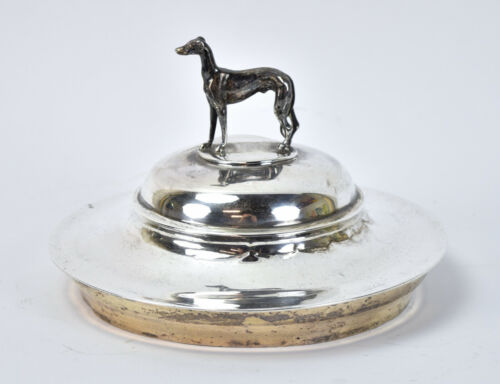 1902 English Sterling Silver Figural Whippet or Greyhound Dog Trophy Lid