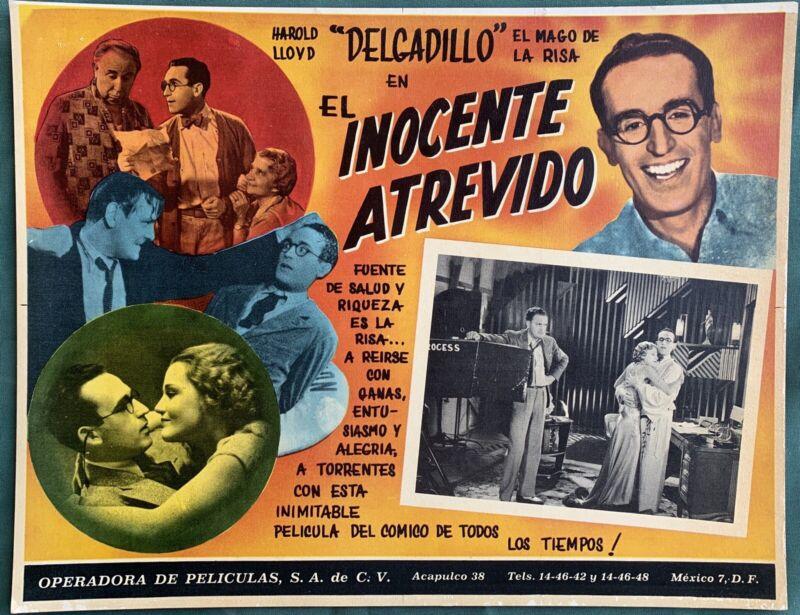 HAROLD LLOYD EL INOCENCTE ATREVIDO MEXICAN LOBBY CARD
