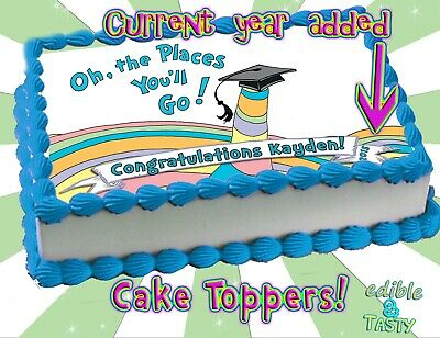 Oh the places you'll go! Edible Cake topper Graduation Cupcakes sugar paper  - Oh The Places You Ll Go Cake