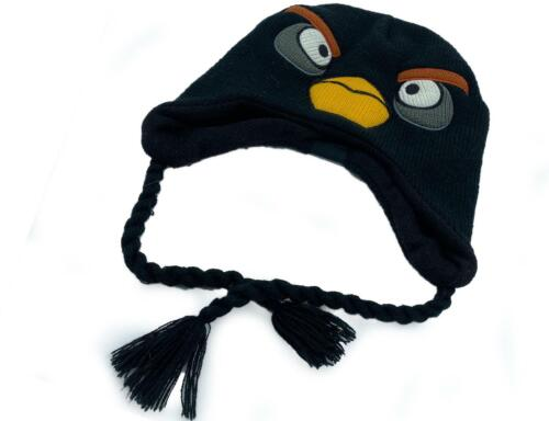 Angry Birds Toboggan Knit Stocking Black Hat Tassles Lined Winter One Size