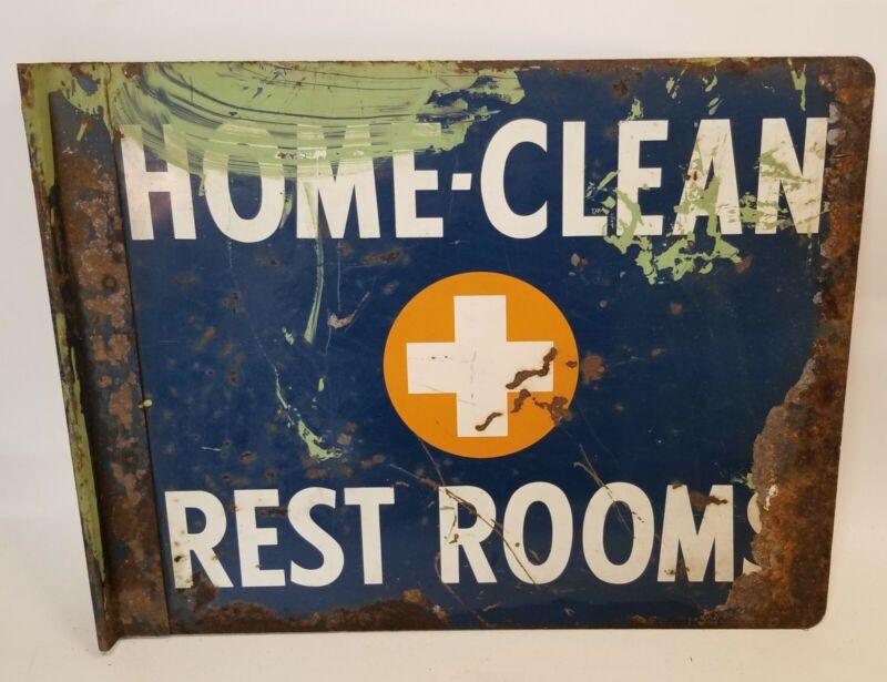 Home Clean Rest Rooms Sign Vintage Gas Station Garage