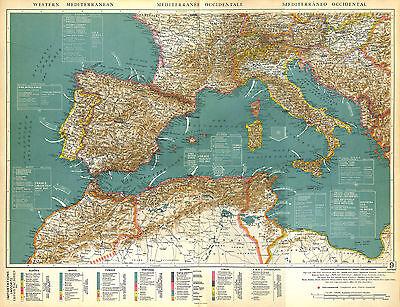 Big Size Physical Map Card Atlas 1950: Mediterranean Sea Mediterranean Mer