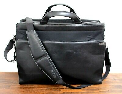 Tumi BLACK GENUINE LEATHER NYLON BUSINESS SHOULDER BAG LAPTOP BRIEFCASE ATTACHE for sale  Shipping to India
