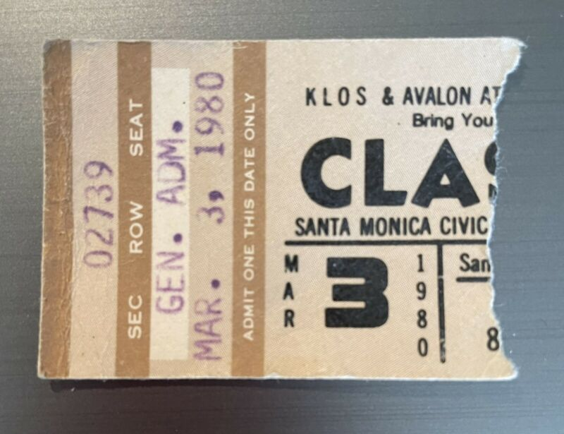 1980 THE CLASH SANTA MONICA CONCERT TICKET STUB JOE STRUMMER & Mickey Dread