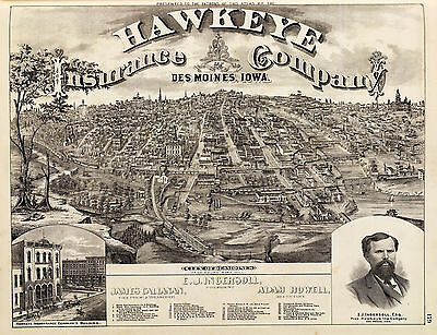 1875 City of DesMoines fr. South Park Hill Wall Map Old Vintage Style Art Poster
