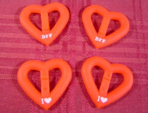 Crush Bandz I Heart BFF Red Silicone Bracelet Charms Craft WHOLESALE LOT OF 1000