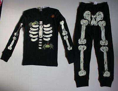 NEW Gymboree Outlet Boys Skeleton Halloween Gymmies PJs Black 3 4 5 6 7 8 - Boys Skeleton Pajamas