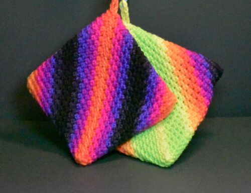 """Hand Crocheted Double Thick Hot Pad Pot Holder Pair """"Black Light"""" black & neon"""