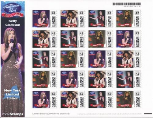 KELLY CLARKSON Rare & New 2008 Limited Edition NEW YORK USPS Photo Stamps #/2000