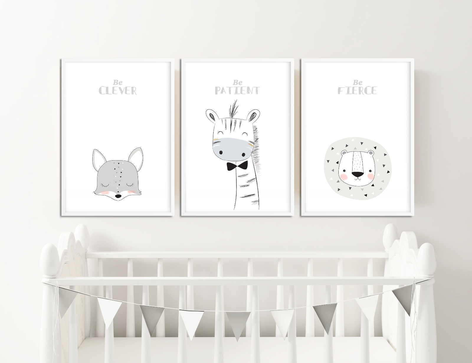 Details About Scandinavian Nursery Prints Animal Pictures For Decor Neutral Colours