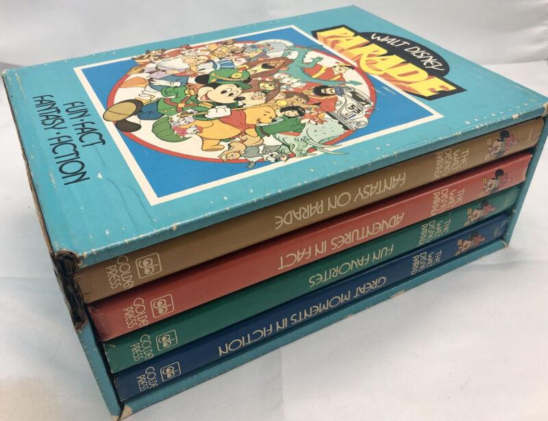 The Walt Disney Parade 4 Book Set, Golden Press 1977 Vintage Fun Fact Fantasy