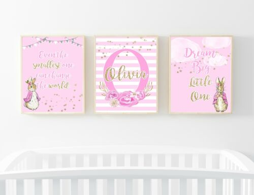 A4 Initial Personalised Print Christening Nursery FLOPSY SET GOLD