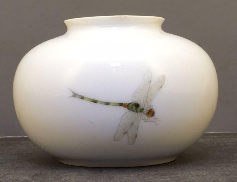 Japanese Meiji White Porcelain Vase with Dragonfly