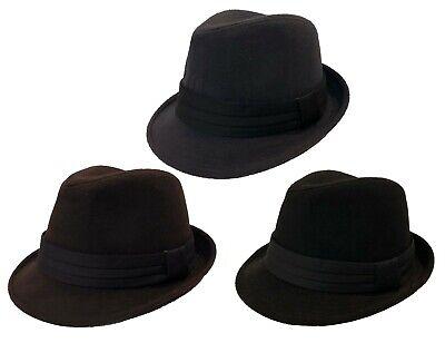 FEDORA TRILBY GANGSTER FANCY DRESS WOOL FEDORA BUCKET HAT MEN WOMEN CAP - Fancy Dress Gangster Woman