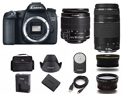NEW Canon EOS 70D DSLR Camera with EF-S 18-55mm and 75-300mm Lens (4 LENSES)