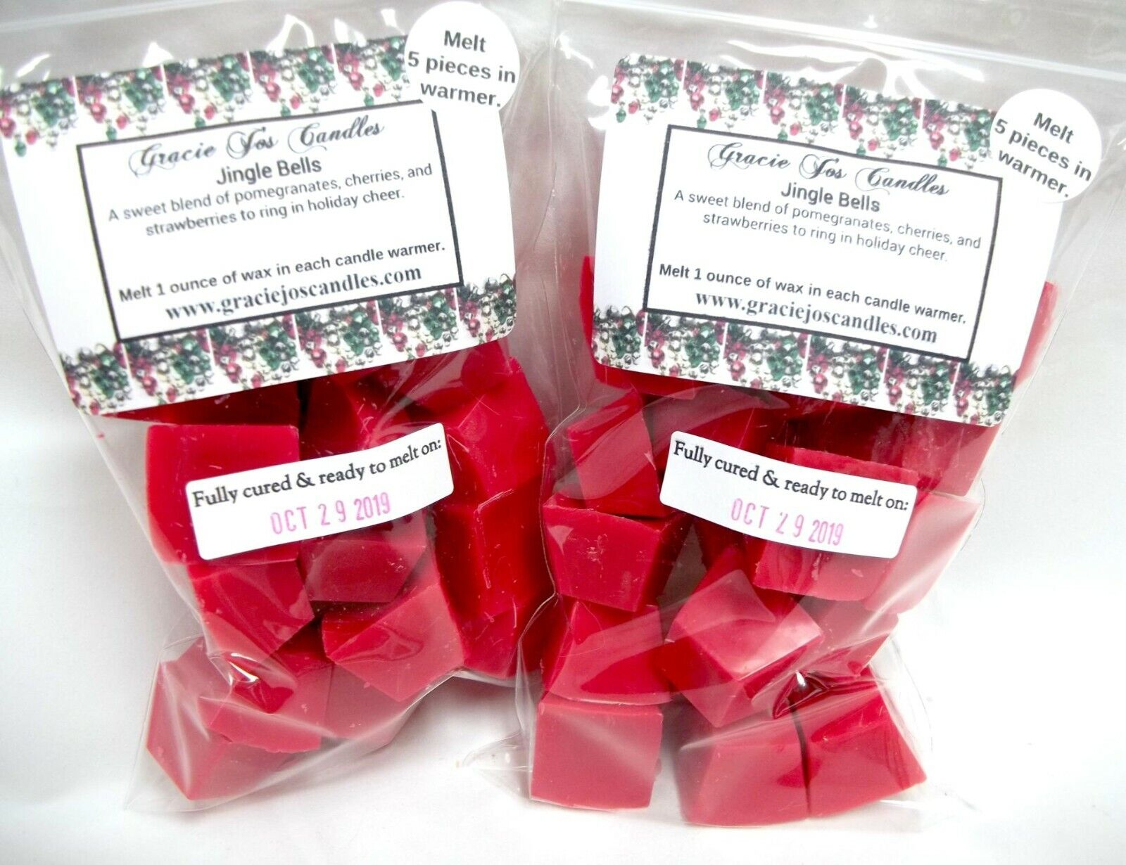 JINGLE BELLS Scented Tart Wax Melts Chunks Chip Home Candle