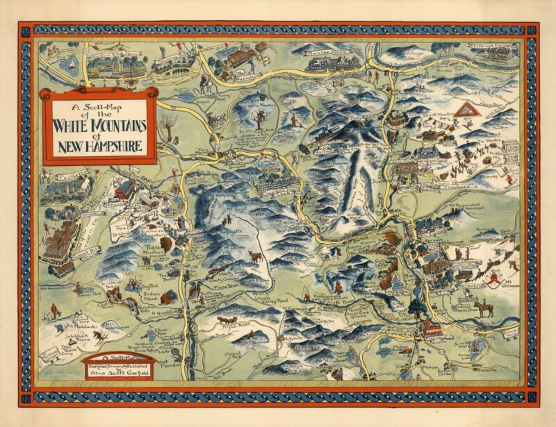 1960 pictorial map White Mountains of New Hampshire POSTER 8782000